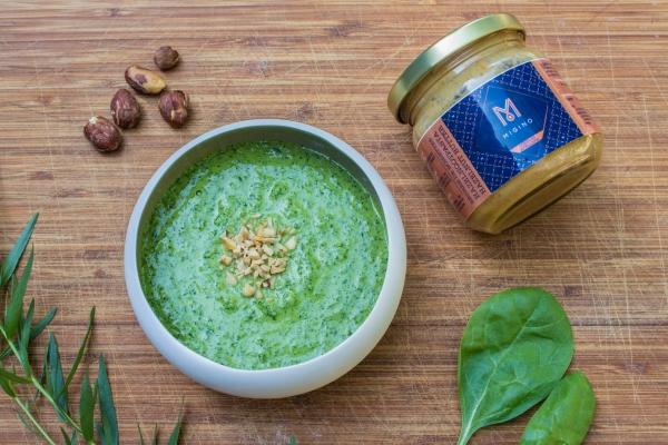 Pesto van spinazie en hazelnootpasta